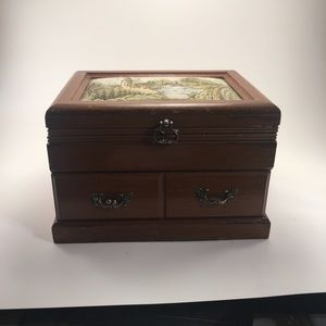 Vintage Asian Crafted Wooden Jewelry Box!